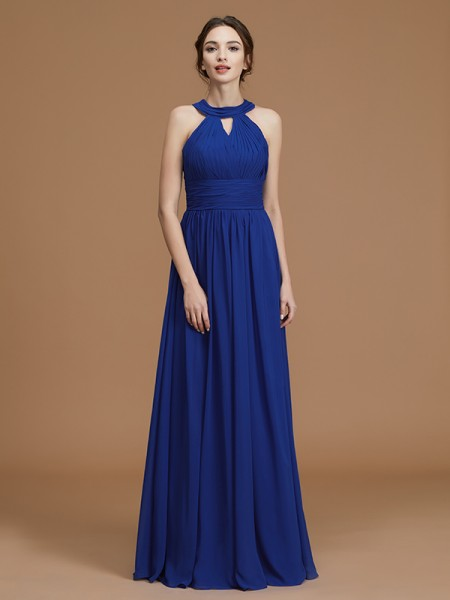 A-Line Halter Floor-Length Ruched Chiffon Bridesmaid Dresses