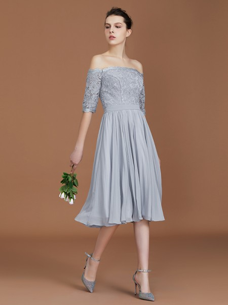 A-Line Off-the-Shoulder Lace Tea-Length Chiffon Bridesmaid Dress