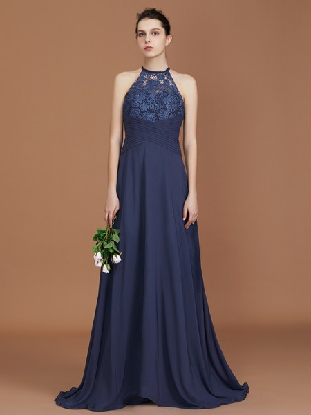 A-Line Scoop Sweep Train Chiffon Lace Bridesmaid Dress