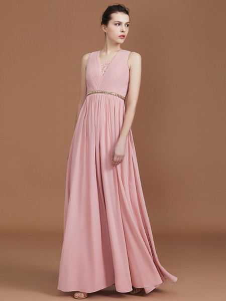A-Line Lace Floor-Length Chiffon Ruched V-neck Bridesmaid Dresses