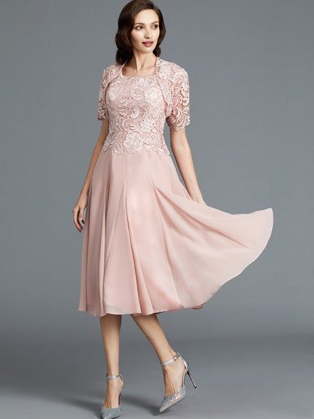 A-Line Scoop Tea-Length Chiffon Mother of the Bride Dresses