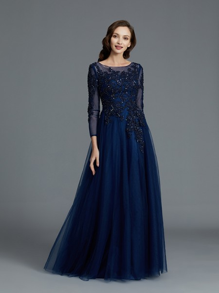 A-Line Scoop Beading Floor-Length Tulle Mother of the Bride Dresses