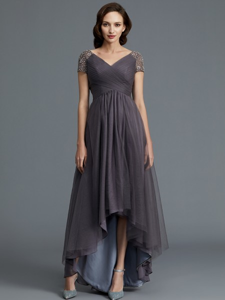 A-Line V-neck Asymmetrical Tulle Mother of the Bride Dresses