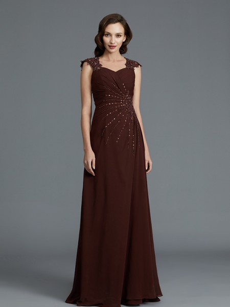 A-Line Sweetheart Chiffon Floor-Length Beading Mother of the Bride Dresses