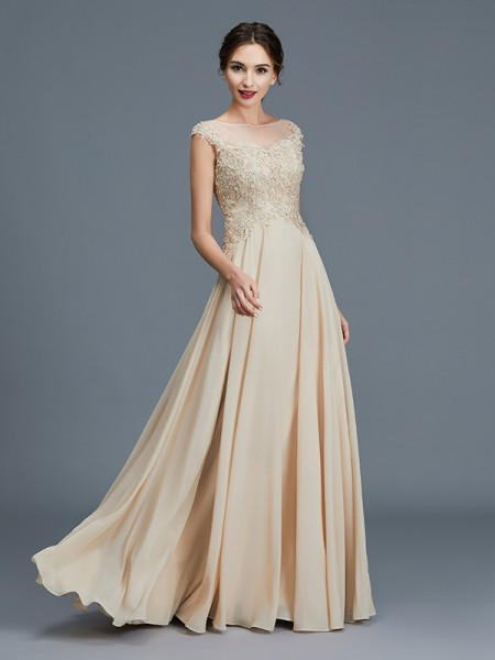 A-Line Scoop Ruffles Chiffon Floor-Length Mother of the Bride Dresses