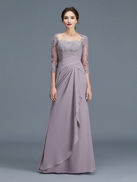 Sheath Sweetheart Ruffles Chiffon Floor-Length Mother of the Bride Dresses