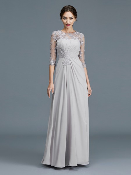 A-Line Scoop Chiffon Ruffles Floor-Length Mother of the Bride Dresses