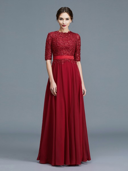 A-Line Scoop Chiffon Applique Floor-Length Mother of the Bride Dresses