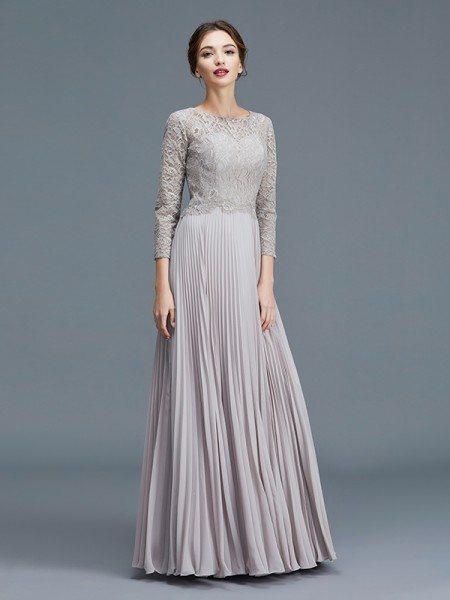 A-Line Scoop Lace Chiffon Floor-Length Mother of the Bride Dresses