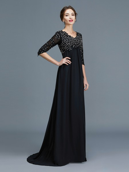 A-Line V-neck Beading Chiffon Floor-Length Mother of the Bride Dresses