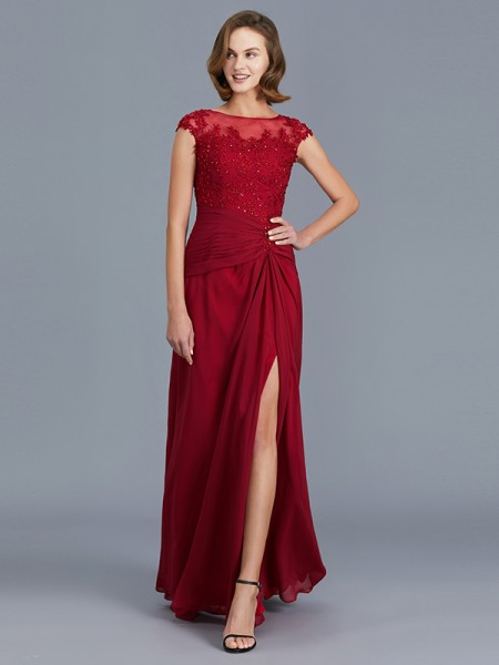 Sheath Scoop Chiffon Ruffles Floor-Length Mother of the Bride Dresses
