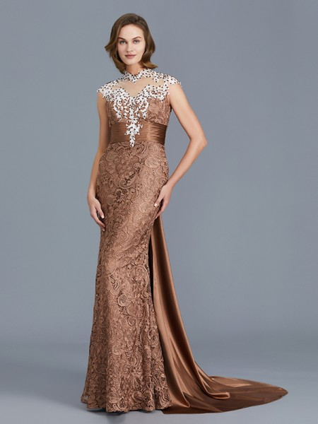 Mermaid Scoop Beading Lace Floor-Length Mother of the Bride Dresses