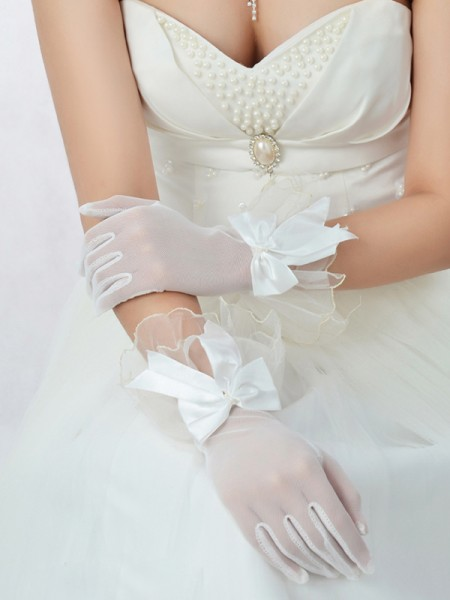 Fashion Best Tulle Bowknot Wedding Gloves