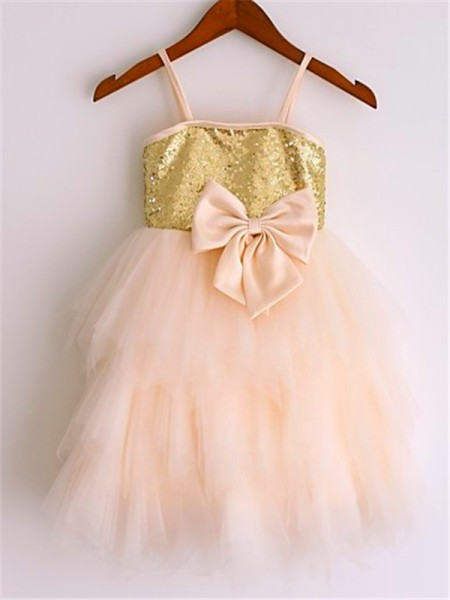 A-Line Spaghetti Straps Sequin Tea-Length Net Flower Girl Dresses
