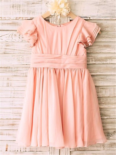 A-Line Scoop Tea-Length Chiffon Flower Girl Dresses