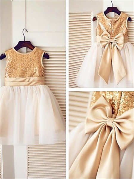 A-Line Scoop Sequin Tea-Length Tulle Flower Girl Dresses