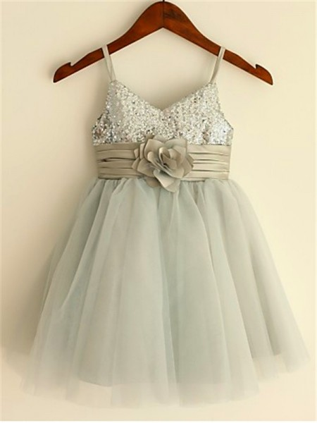 A-Line Spaghetti Straps Sequin Tea-Length Tulle Flower Girl Dresses