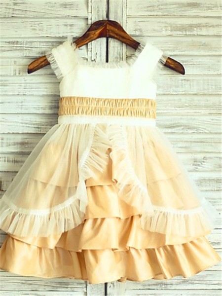 A-Line Square Layers Tea-Length Satin Flower Girl Dresses