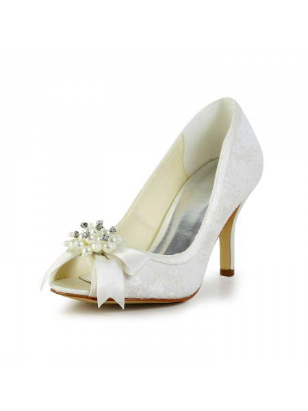 Latest Women's Satin Stiletto Heel Pumps with Imitation Pearl and Bowknot Ivory Wedding Shoes