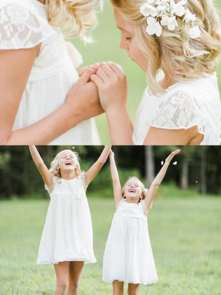 A-Line/Princess Short Sleeves Scoop Knee-Length Lace Chiffon Flower Girl Dresses