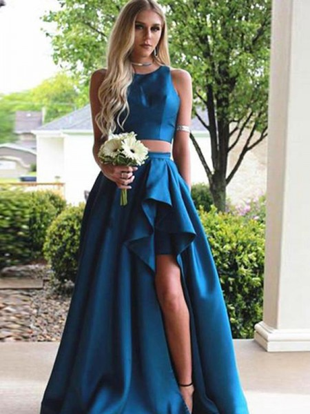 A-Line Scoop Brush Train Blue Satin Two Piece Prom Dresses