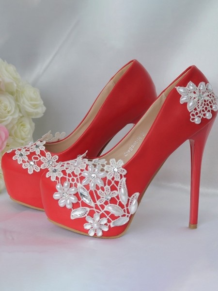 Latest Women's PU Closed Toe Stiletto Heel With Flower Platforms Shoes