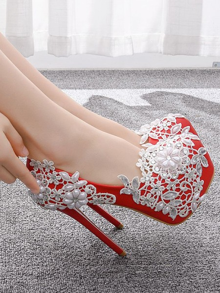 Latest Women's PU Closed Toe With Flower Stiletto Heel Platforms Shoes