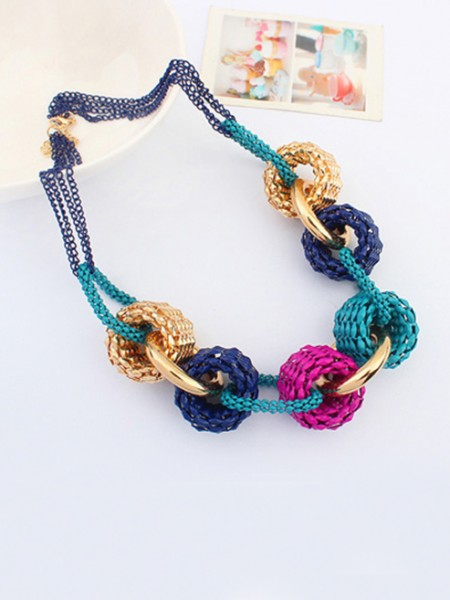 Latest Occident Trendy Retro Metallic Collision color Hot Sale Necklace