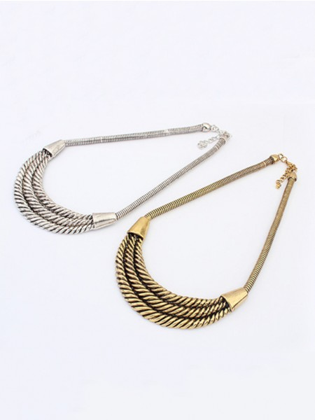 Latest Occident Hyperbolic Personality Semi-arc alloy Hot Sale Necklace