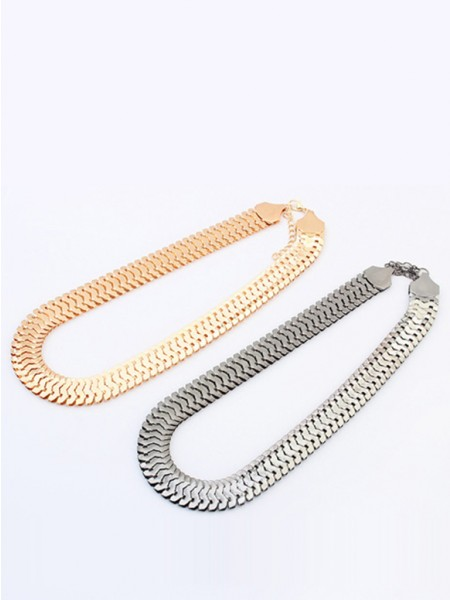 Latest Occident Personality Metallic thick chains Short Hot Sale Necklace