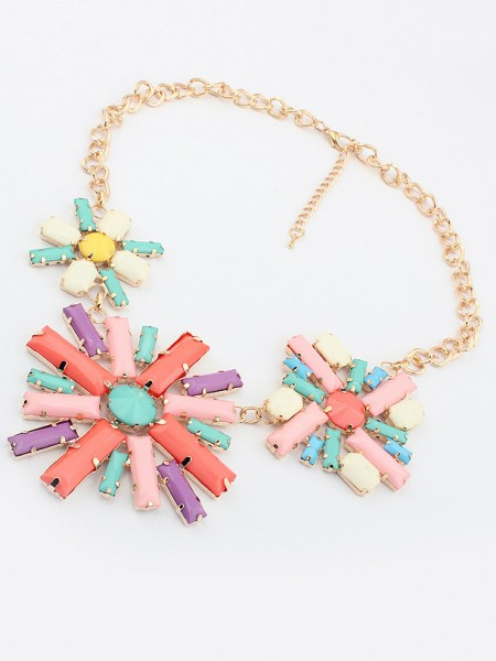 Latest Occident Hyperbolic Colorful Flowers Hot Sale Necklace