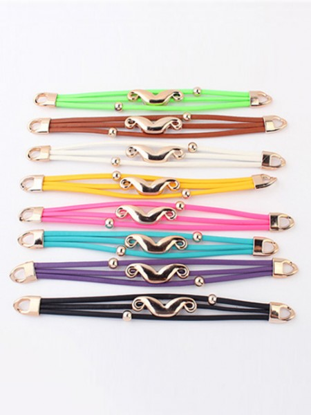 Latest Occident Fluorescent colors Major suit Mustache Hot Sale Bracelets