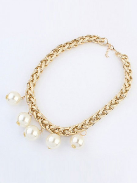 Latest Occident Metallic Punk Imitation pearls Hot Sale Necklace