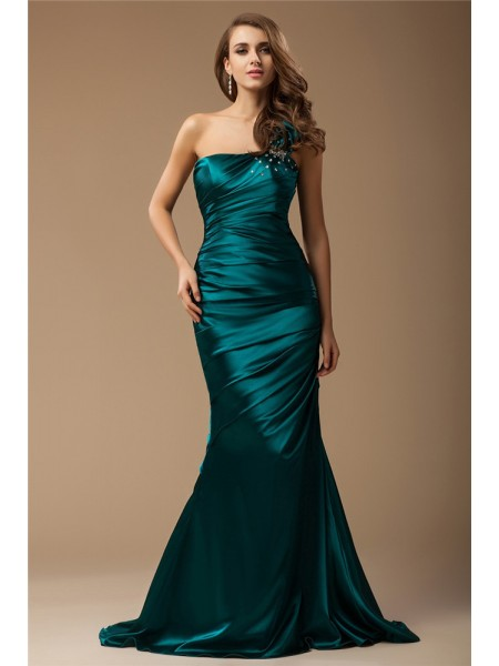 Mermaid One Shoulder Ruffles Beading Elastic Woven Satin Prom Dresses