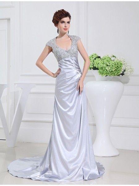 A-Line Scoop Beading Lace Elastic Woven Satin Prom Dresses