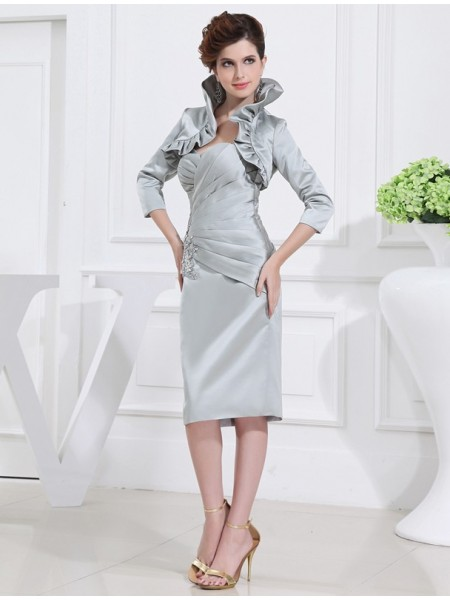 Sweetheart Satin Short Beading Mother of the Bride Dresses