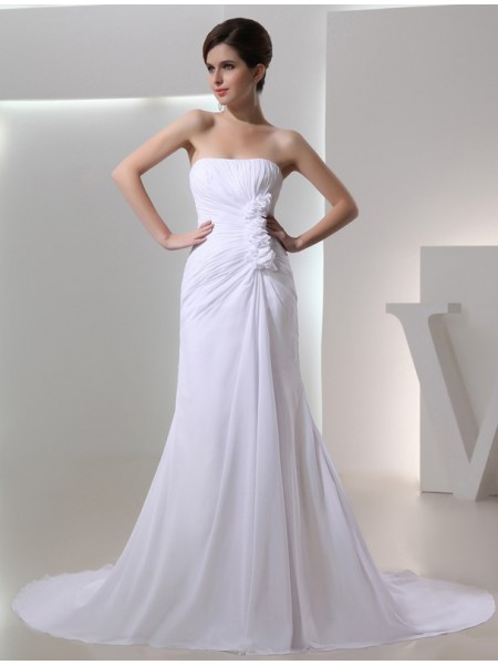 A-Line Beading Strapless Pleated Chiffon Wedding Dresses