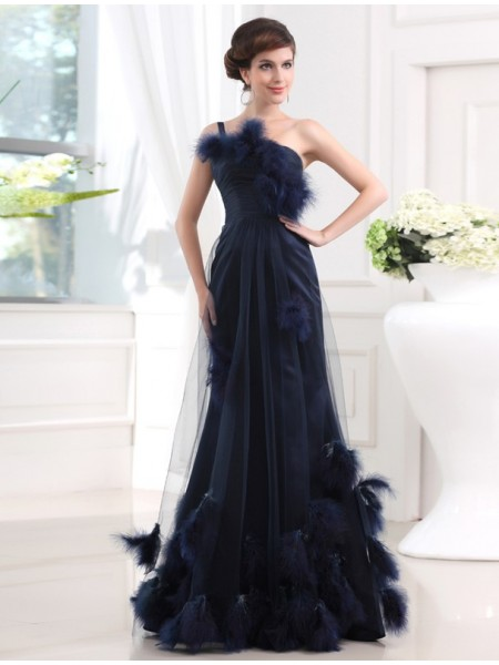 Mermaid One-shoulder Satin Tulle Feathers/Fur Prom Dresses