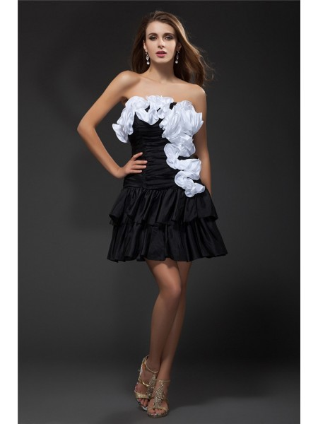 A-Line Strapless Ruffles Hand-Made Flower Short Taffeta Homecoming Dresses