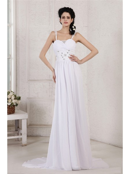 Sheath Spaghetti Strap Pleats Ruched Beading Applique Chiffon Wedding Dresses