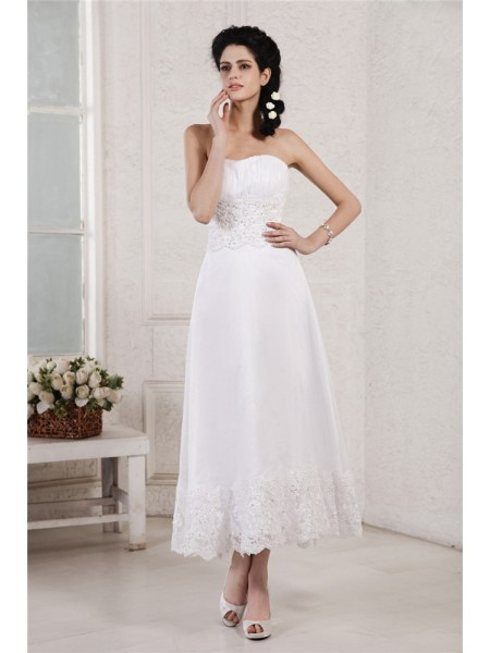 A-Line Strapless Pleats Applique Beading Short Chiffon Wedding Dresses