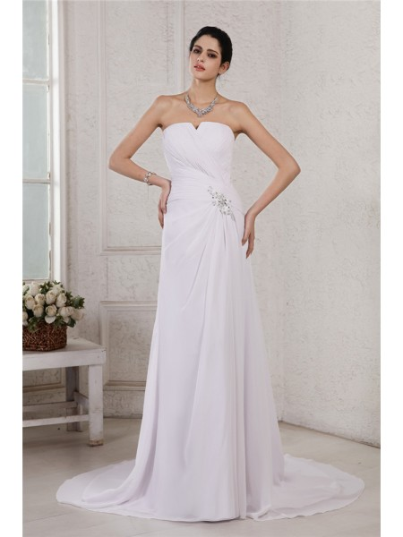 Sheath Strapless Beading Applique Pleats Chiffon Wedding Dresses