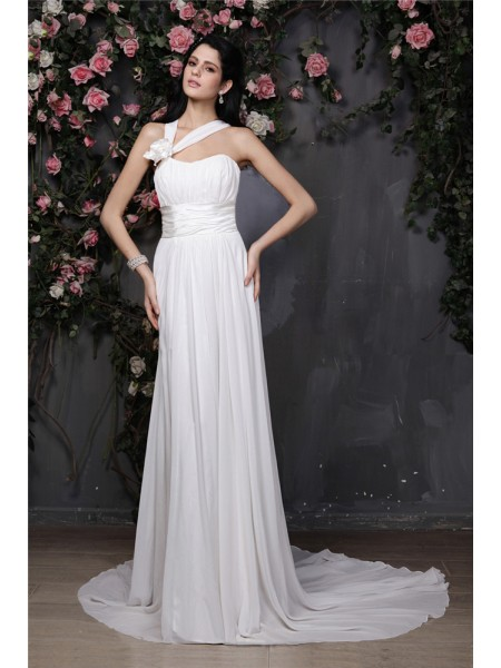 Sheath Halter Hand-Made Flower Pleats Chiffon Wedding Dresses