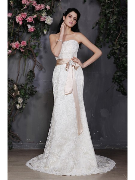Sheath Strapless Sash Lace Wedding Dresses