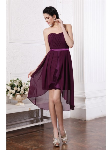 Sheath Strapless Sash Pleats High Low Chiffon Homecoming Dresses