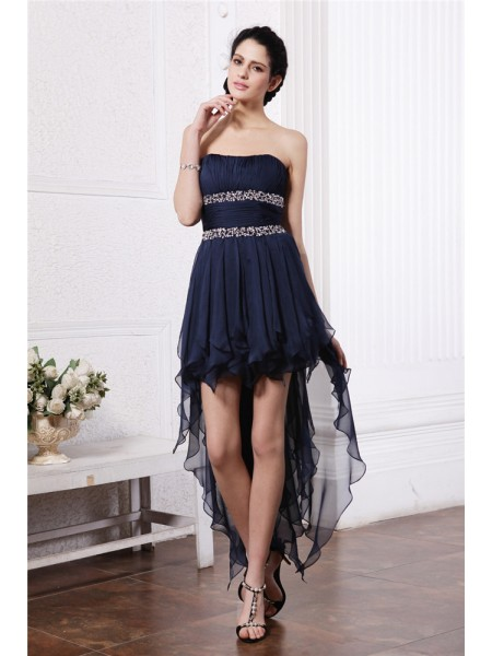 Sheath Strapless Beading High Low Chiffon Homecoming Dresses