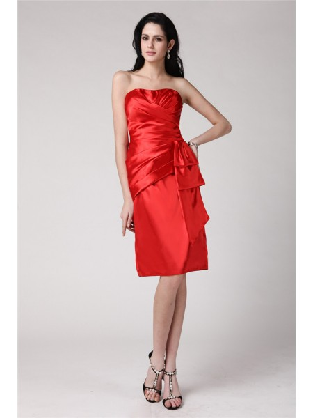 Sheath Strapless Pleats Short Elastic Woven Satin Homecoming Dresses