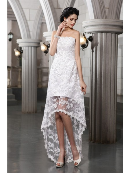 Sheath Strapless Beading High Low Lace Wedding Dresses