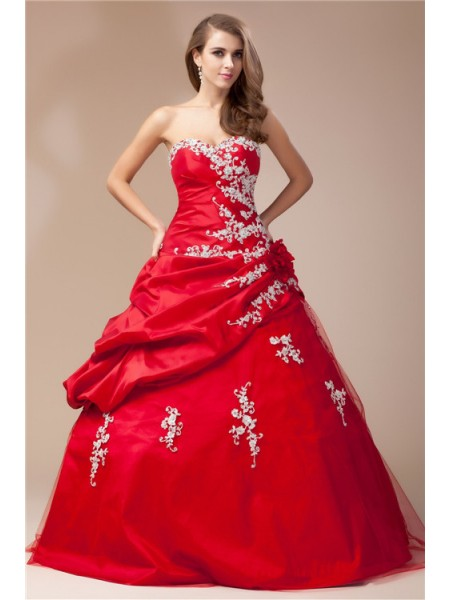 Sweetheart Beading Lace Taffeta Net Ball Gown Prom Dresses