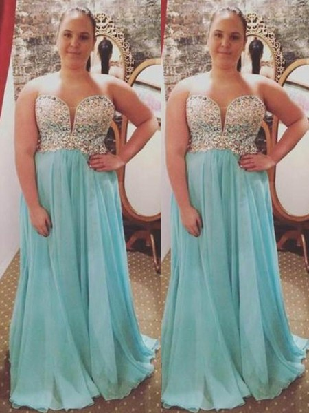 A-Line Sweetheart Beading Sweep/Brush Train Chiffon Plus Size Prom Dresses